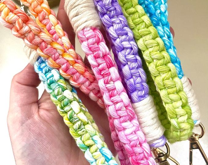 Featured listing image: Tie Dye Wrist Lanyard, Macrame Keychain, Wristlet Keychain, Lanyard for Keys, Key Wrist Strap, Key Fob Wristlet, Keychain bracelet, Key Ring