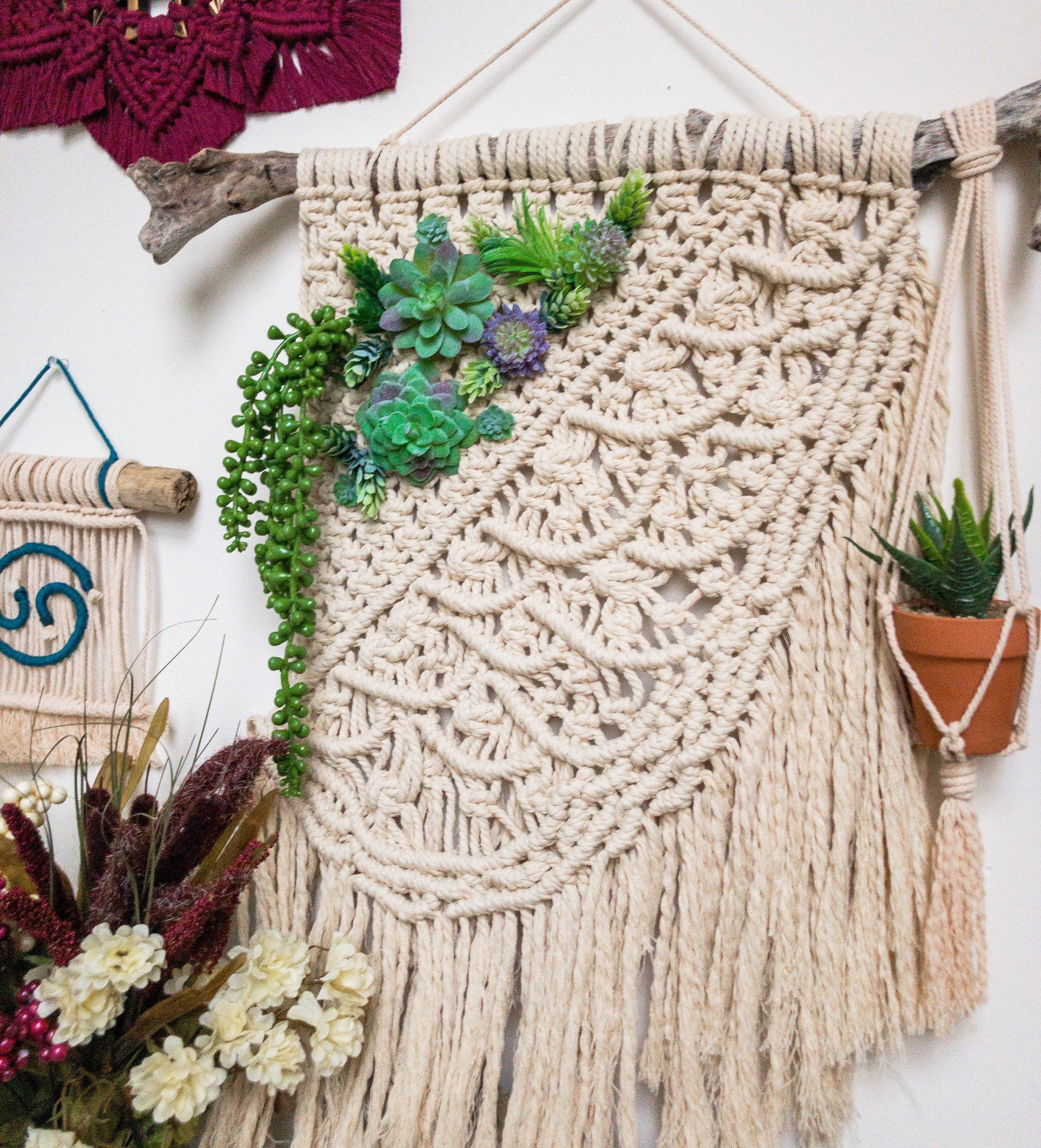 Succulent Macrame Wall Hanging Cactus Wall Hanging Macrame Wall Art Rope Wall Hanging Succulent Wall Decor Faux Succulent Wall Decor
