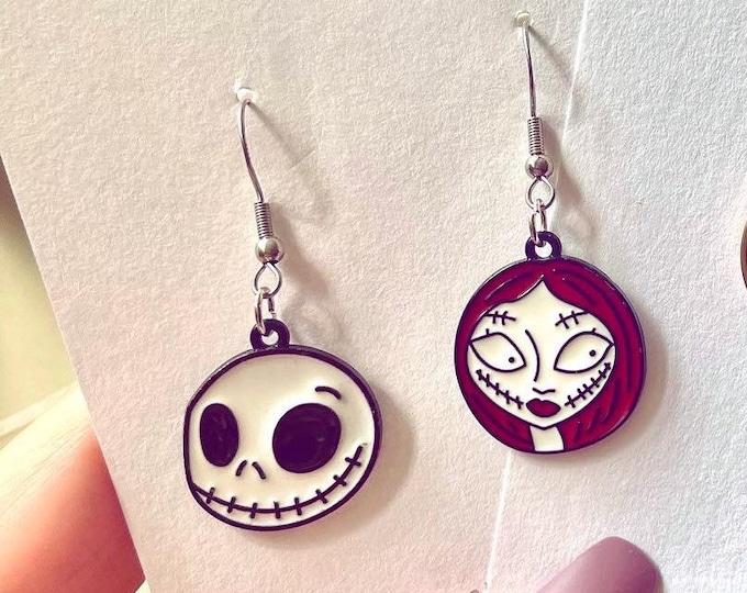 Featured listing image: Nightmare Before Christmas Earrings, Halloween Earrings, Jack and Sally Earrings