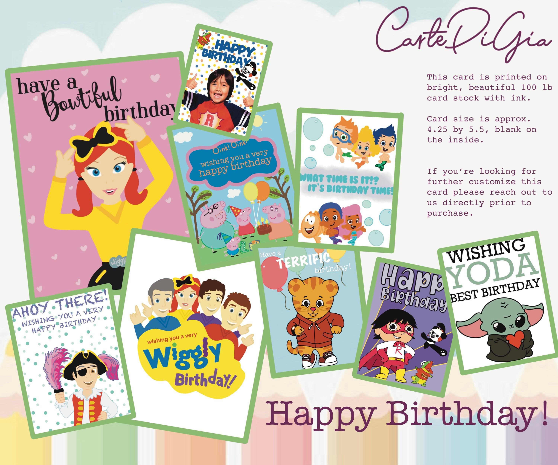 Carte d'anniversaire des enfants   The Wiggles / Peppa Pig / Daniel Tiger /  Bubble Guppies