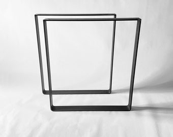 2x metal table legs, flat steel, industrial look in a bend shape