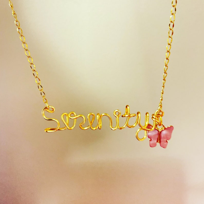 valentines day Easter birthday Custom Name Necklace with charm Gifts for her Easter basket butterflyheartor star Mothers day