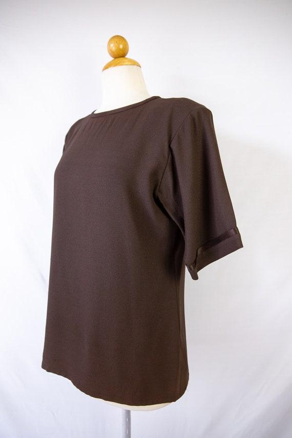 1970s Yves Saint Laurent chocolate elbow sleeve bl