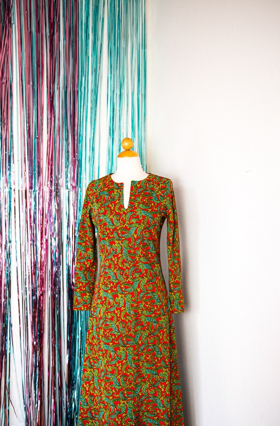 Vintage 60's Red Paisley Print Maxi Dress