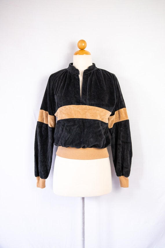 1970s velour pullover sweater / black and tan / ex