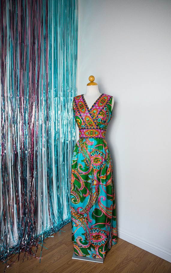 1960s Psychedelic Maxi Dress/Gown