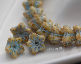 30 beads Periwinkle Blue with Copper Wash 5mm x 6mm Czech Glass Baby Bell Flower Beads