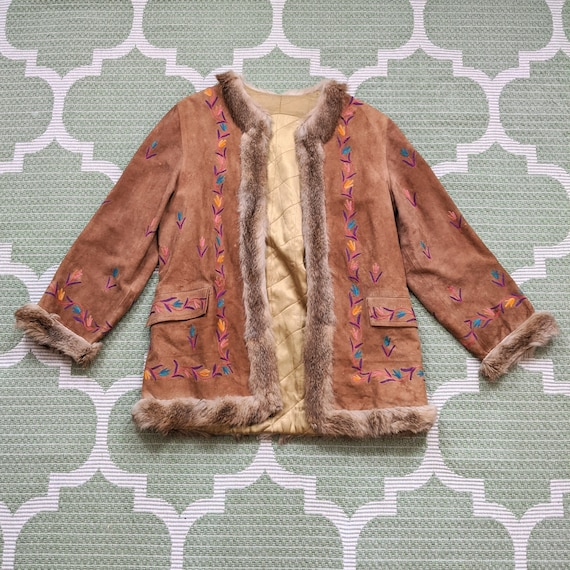 Vintage Embroidered Suede Coat 1960s