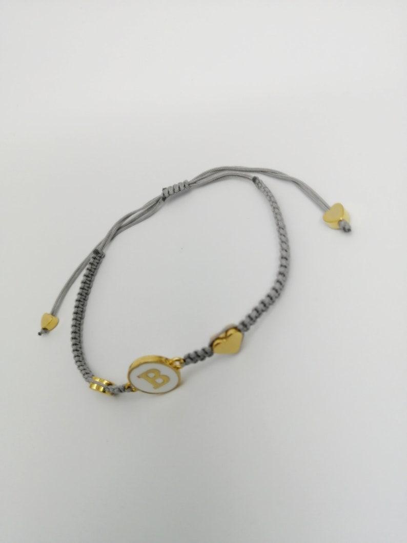 Enamel Letter Banglet Handmade Jewelry 24k Shiny Gold Plated Enamel Letter Bracelet Macrame Bracelet Macrame Bangles Hand woven Bangles
