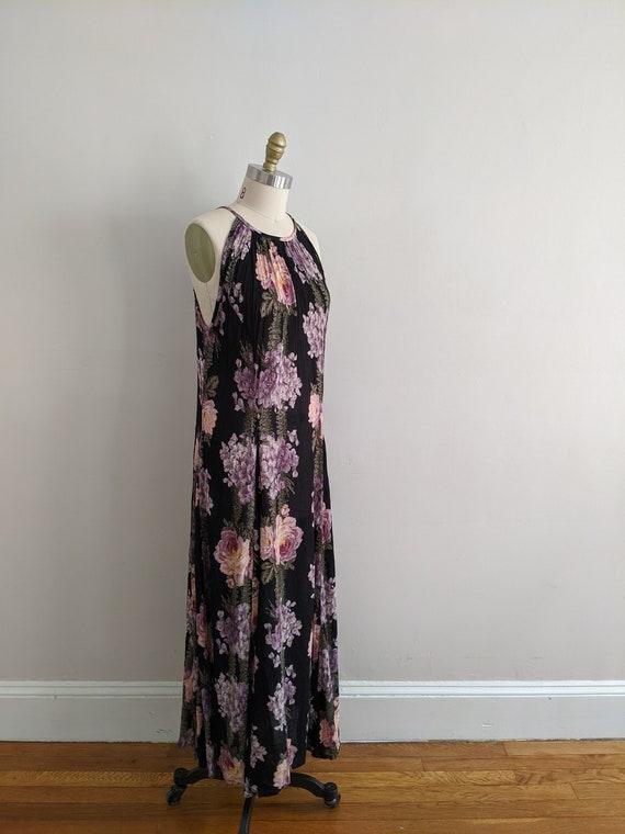 Black Floral Gauze Dress