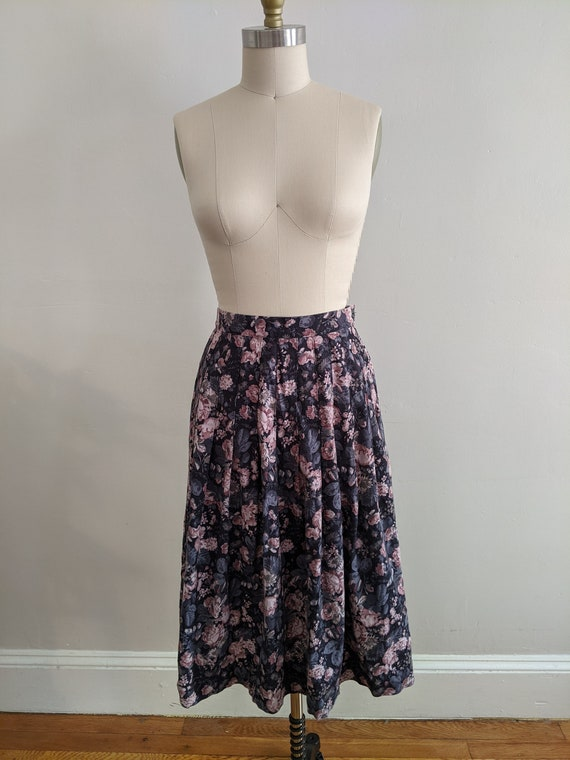 Vintage Laura Ashley Floral Pleated Wool/Cotton Sk