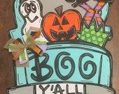 Boo Y 39 all Truck Door Hanger - Door Decor - Halloween - Pumpkin - Door Hanger - Boo - Ghost - Witch