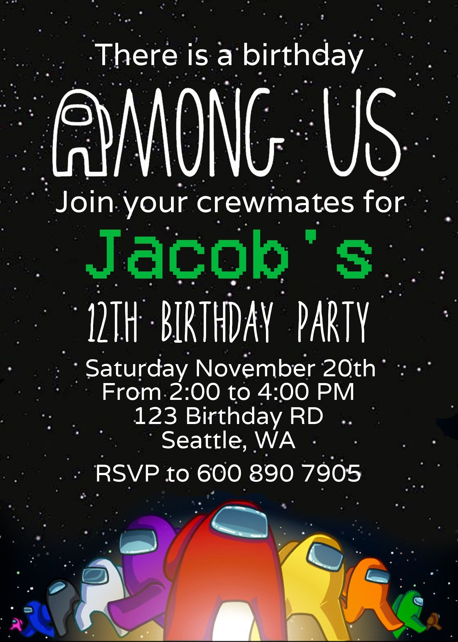 Editable Among Us Birthday Invitation Among Us Invitation