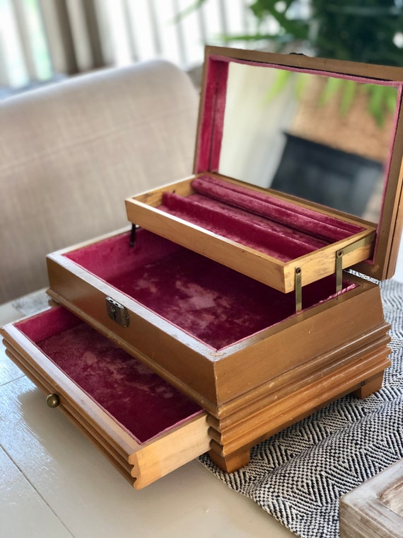 Jewelry Box Vintage Retro Wooden with Music Box