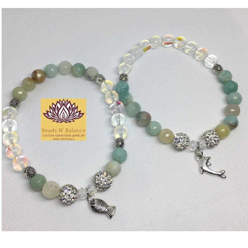 Amazonite and Clear Quartz Custom Gemstone Bracelets