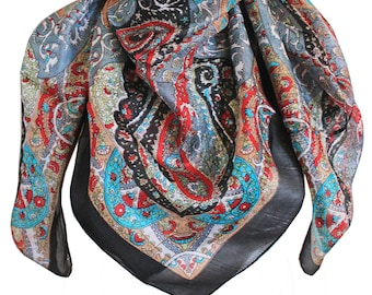 Women Vintage Handmade 100% Pure Silk Square Scarves, Foulard , Head Silk Scarf, Gifts - 100*100 cm