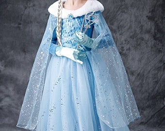 birthday dress pettiskirt Tutu dress Elsa Frozen Halloween costume baby bloomer outfit.Baby toddler Nb-24 months.