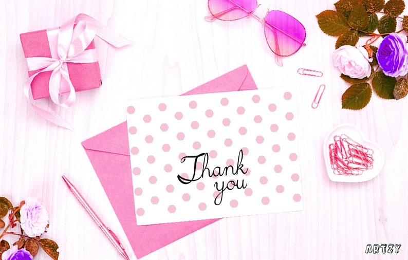 PDF Appreciation Printable Personalized Flat Thank You Cards Digital download Printable Card JPG PNG Aesthetic