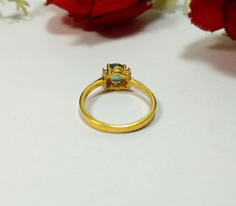 Wedding Ring Gift Valentine Gift Green Tourmaline Ring Natural Green Tourmaline Diamond Ring Rose cut Diamond Ring,925 Sterling Silver