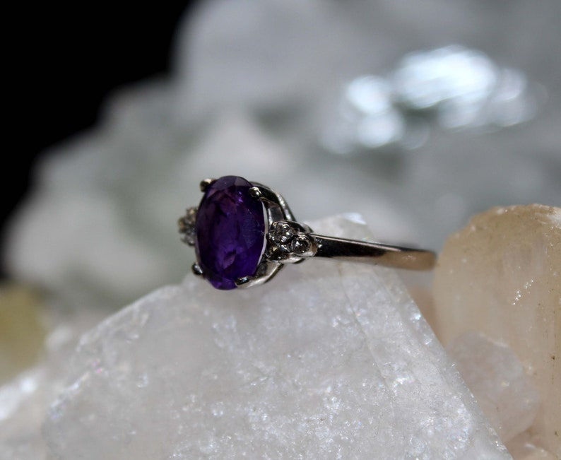 Silver Ring Wedding Ring Amethyst Ring Natural Amethyst Pave Diamond Ring Good Quality Amethyst Ring,925 Sterling Silver Christmas Gift