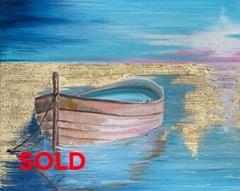 Original sea oil painting, Impasto technique, Palette knife, Impressionist 16 x 16 inches