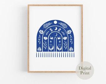 Linocut Style Printable Poster   Instant Download Art Print   Bright Blue Modern Retro Inspired Art Poster   DIGITAL DOWNLOAD