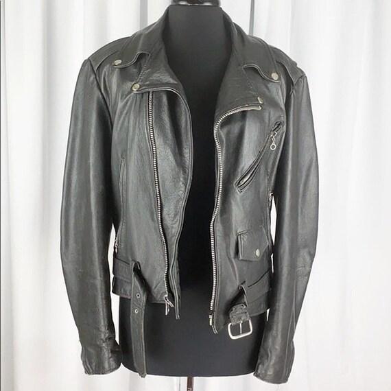 Vintage 80's Leather Motorcycle Jacket Distressed