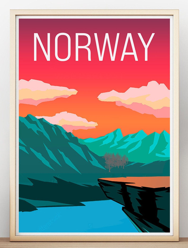 Digital Download Norway Mountains Print Wall Art Art Prints Art Print-Travel Print Print by Abit Unconventional Poster