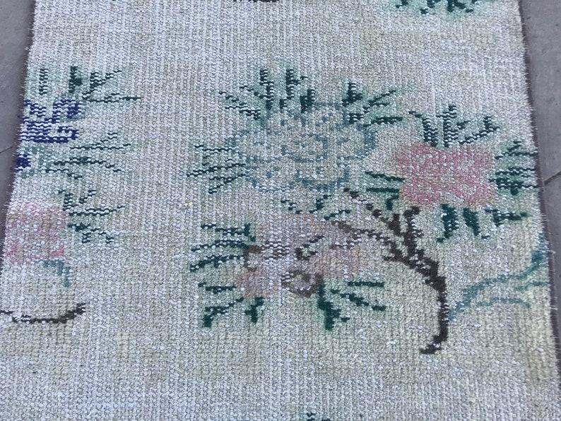 outdoor rug vintage oushak rug small turkish area rug decor rug 2.8x1.7ft door mat rug frontdoor rug floral rug wool bedroom rug