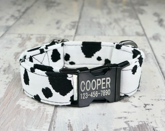 Cow Dog style Dog Collar w/ metal buckle, HAND MADE , Custom Engraved Personalized Collar, 1 inch wide, designer collars