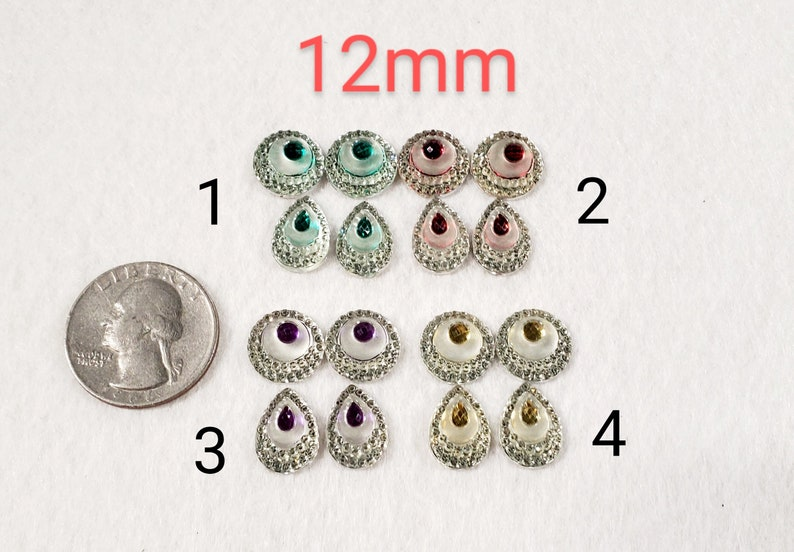Pair of Teardrop and Round 12 mm Matching CabochonsAcrylic GemsBeading SuppliesResin Centers Jewelry MakingCraft Materials