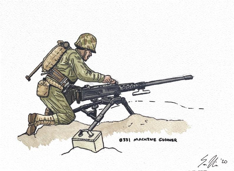 0331 Machine Gunner Watercolor Illustration WW2 US Marine Corps