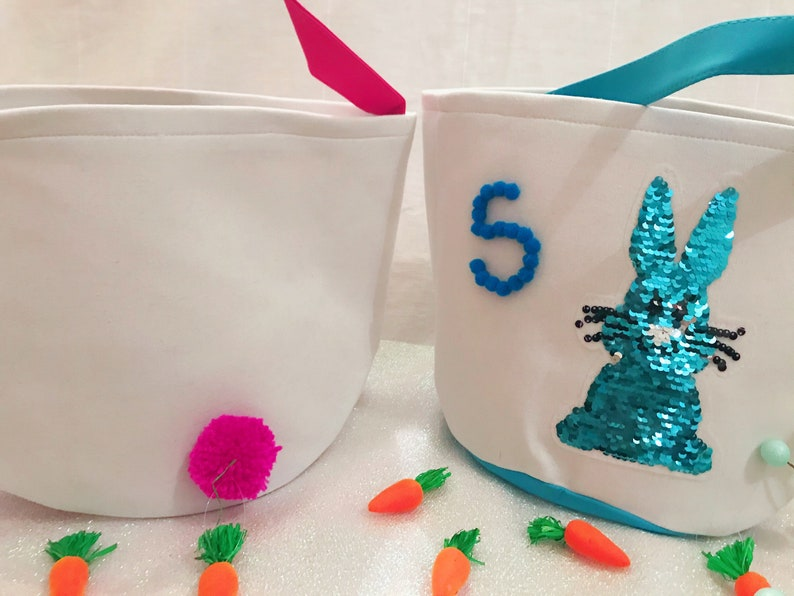 lots of colours available Personalised sequin and Pom Pom Easter bunny cotton bucket bags gift bags treat bags Great for egg hunts