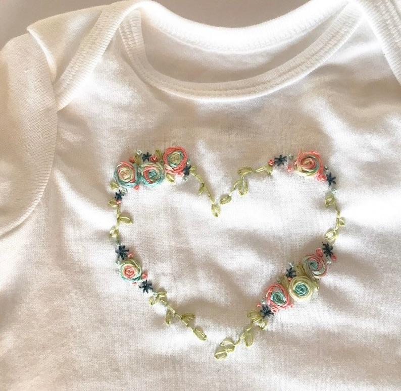 floral onesie Hand Embroidered onesies baby embroidered onesie baby organic onesies easter onesie baby Easter onesie summer onesies