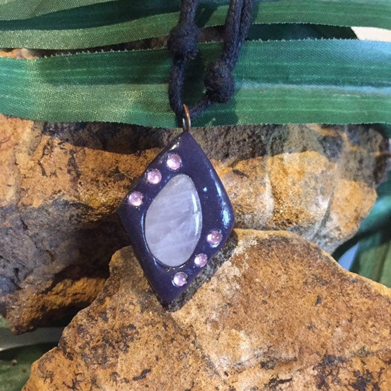 Crystal pendant Valentines gift Rose quartz amulet Boho necklace Crystal amulet