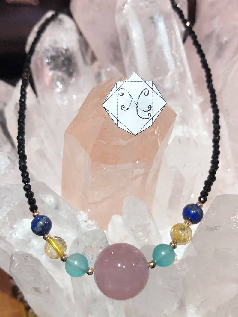 Pink Quartz with Spinel Crystal Necklace