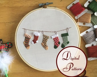 Christmas Stockings || Hand Embroidery Hoop Art PDF Pattern with Instructions || Digital Download