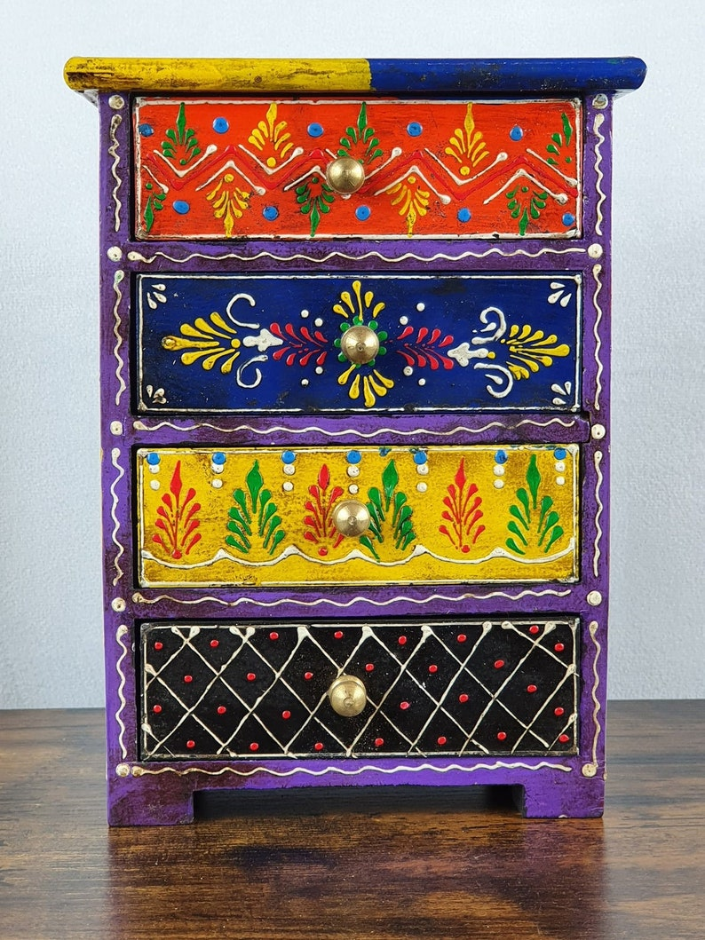 Indian Painted box  Wooden hand painted 4 drawer jewellery box  wooden storage box