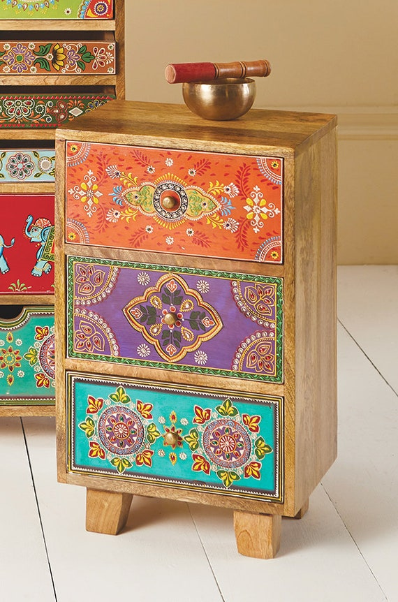 Indian Wooden Bedside Table Storage, Hand Painted Indian Bedside Cabinet