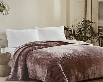 Queen size extra soft deep blush pink burgundy Corduroy Quilt - Wedding gifts ,Christmas gifts, Gifts for her, Gifts for him