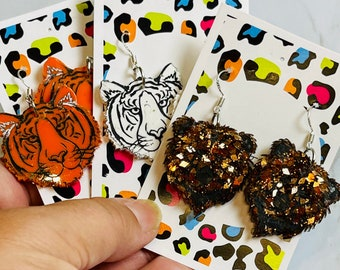 Wild Animal Statement Earrings - Tigers or Bears, Perfect Animal Lover Gift
