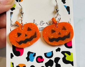 Halloween Pumpkin Face Resin Dangle or Hoop Earrings!