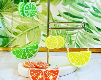 Summer Citrus Fruits Statement Necklace and Matching Dangly Earrings Jewellery Set! Lemons, Limes & Oranges.