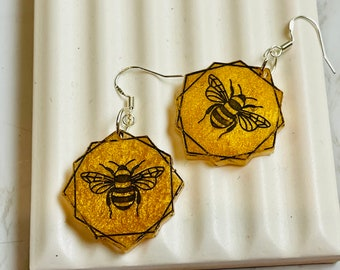 Honeycomb Honey Bee Dangly Earrings - Perfect for Bee Lovers!