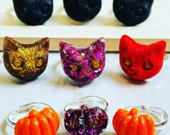 Fun Halloween Adjustable Rings - Scaredy Cats and Pumpkin Kings!
