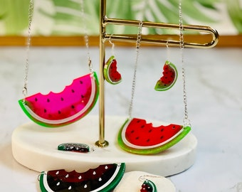 Watermelon Statement Necklace and Matching Dangly Earrings Jewellery Set!