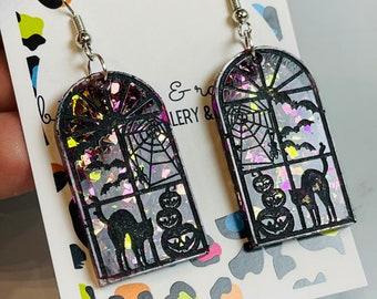 Halloween Night Stained Glass Window Resin Dangle or Hoop Earrings!