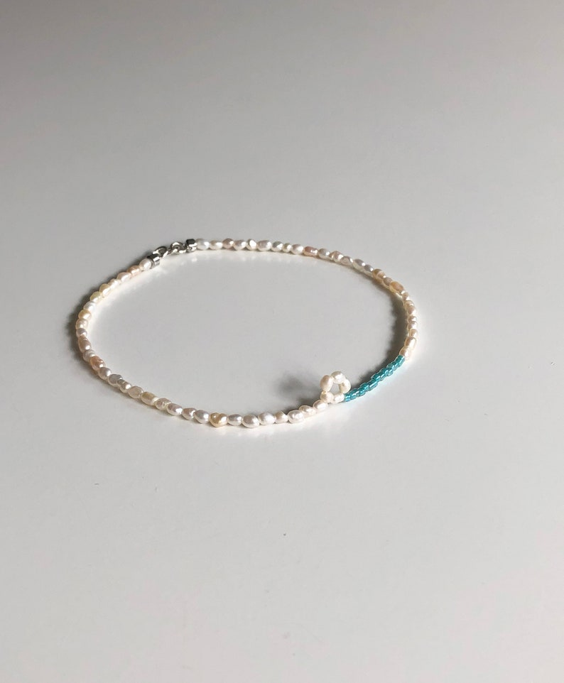 Gift for her Gift idea Sea Form Color Seed Beads Sterling Silver Clasp Freshwater Pearl Anklet Seed Beads Anklet