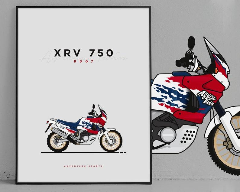 Wallart Honda Africa Twin XRV 750 RD07 Gift Souvenir Poster Print Illustration Paris Dakar Motorcycle Adventure motorcycle