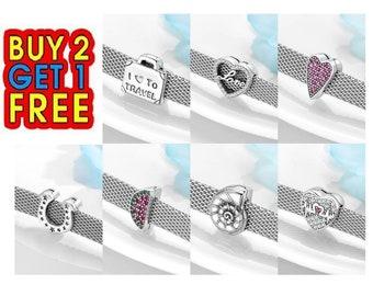 925 Silver A-Z Alphabet Letters Clip Reflexions Charms Fits Mesh Bracelets Chain